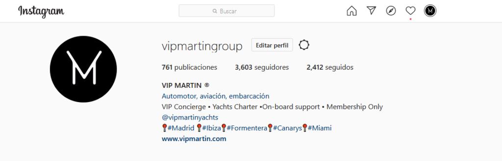 Perfil de Instagram versión Web